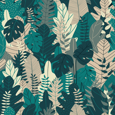 Seamless pattern with leaves. Tropical background for summer banner and printing design. Vector illustration Illustration