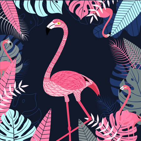 Flamingo bird with leaf and tropical background. Wildlife background for printing and web banner design. Vector illustration
