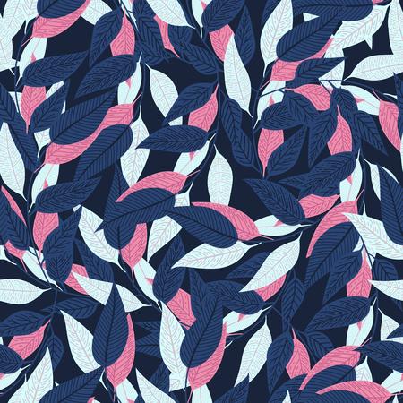 Floral seamless pattern. leaf pattern on dark blue background for printing design. Vector illustration
