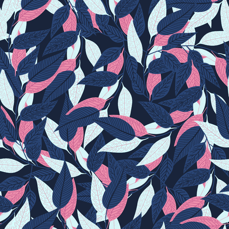Floral seamless pattern. leaf pattern on dark blue background for printing design. Vector illustration