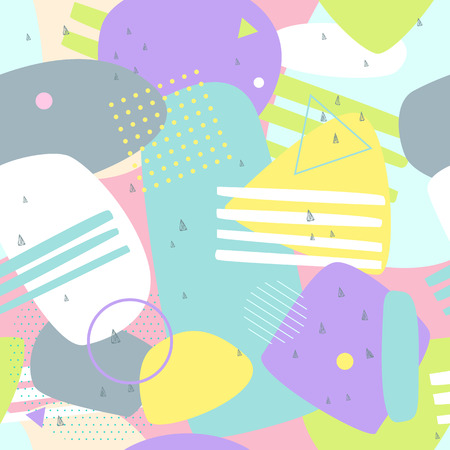 Memphis seamless patterns. Abstract background colorful for printing and website banner design, wallpaper and textile fabric print. Vector illustration Illusztráció