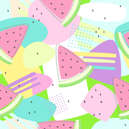 Watermelon seamless patterns on colorful background for printing and summer banner design, wallpaper and textile fabric print. Vector illustration Illustration