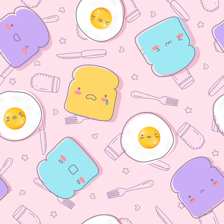 Cute fried egg and bread with face emotions hand drawn seamless patterns. Breakfast patterns for printing and website banner, wallpaper and textile fabric print.  vector illustration.