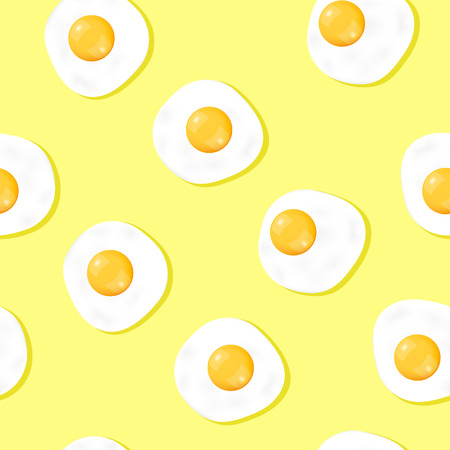Fried egg seamless patterns on yellow background for printing and website banner design, wallpaper and textile fabric print. Vector illustration. Illustration