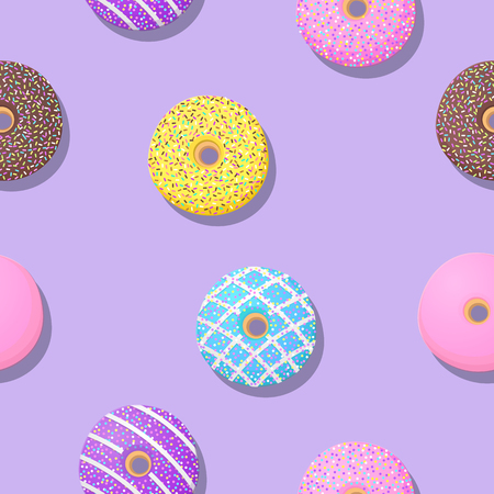 Cute donut seamless patterns on purple background for printing and website banner design, wallpaper and textile fabric print. Vector illustration.