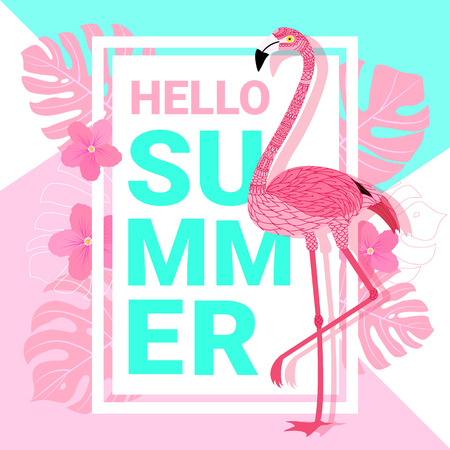 Summer banner with flamingo, typography, and tropical leaves background for promotion banner, flyer, party poster, printing and website. Vector illustration. Illustration