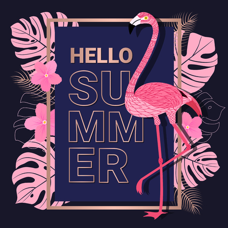Summer banner with rose gold typography, flamingo and tropical leaves on dark blue background for promotion banner, flyer, party poster, printing and website. Vector illustration.