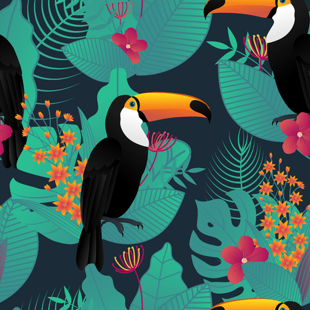 Seamless pattern with Toucan bird and tropical leaves and flowers on dark green background for printing and website design, wallpaper and textile fabric print. Vector illustration.