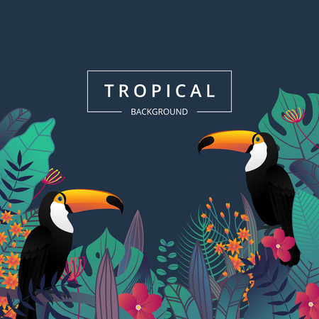Tropical background with toucan bird ,tropical leaves and flower. Summer banner for promotion banner design, flyer, party poster, printing and website. Vector illustration. Illusztráció