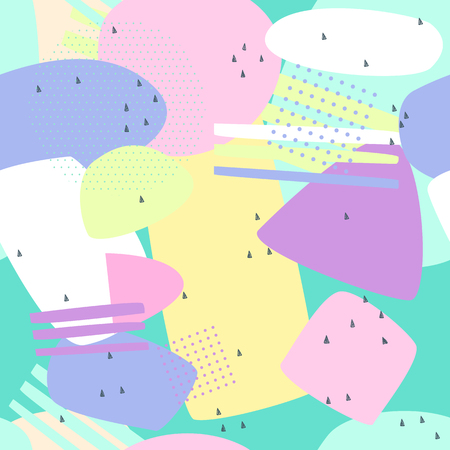 Memphis seamless patterns. Abstract background pastel for printing and website banner design, wallpaper and textile fabric print. Vector illustration