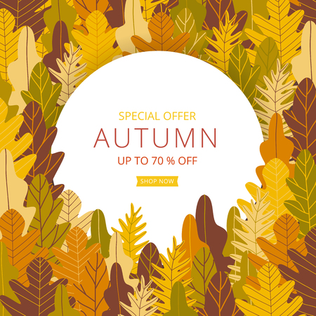 Autumn sale banner layout template decorate with white frame on forest background in warm color tone for shopping sale or promotion poster, leaflet and web banner. Vector illustration . Illustration