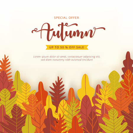 Autumn sale banner layout template decorate with forest background in warm color tone for shopping sale or promotion poster, leaflet and web banner. Vector illustration . Illustration