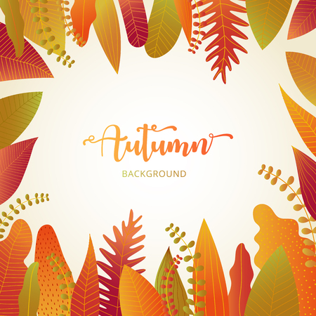 Autumn background banner layout template decorate with autumn leaves in warm color tone for shopping sale or promotion poster, leaflet and web banner. Vector illustration .