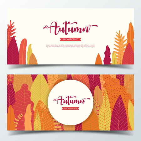 Autumn background banner layout template decorate with autumn leaves and forest background in warm color tone for shopping sale or promotion poster, leaflet and web banner. Vector illustration . Illustration