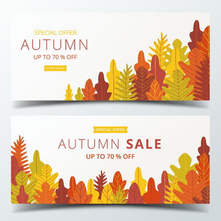 Autumn sale banner layout template decorate with forest in warm color tone for shopping sale or promotion poster, leaflet and web banner. Vector illustration .