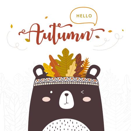 Autumn banner with cute bear tribal style on doodle leaves background.Vector illistration. Illusztráció