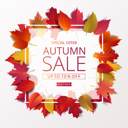 Autumn sale banner layout template modern design decorate with maple and realistic leaves for shopping sale or promotion poster, leaflet and web banner. Vector illustration. Illusztráció