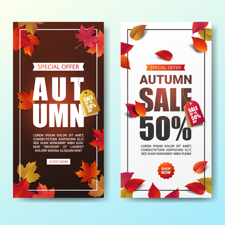 Autumn sale banner layout template modern design decorate with maple and realistic leaves for shopping sale or promotion poster, leaflet and web banner. Vector illustration. Illustration