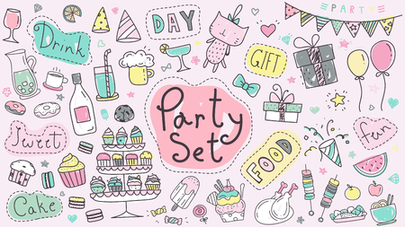 Cute party hand drawn doodle collection in pastel color. Kawaii party doodle drawing for decoration scrapbook, invitation card and party poster.