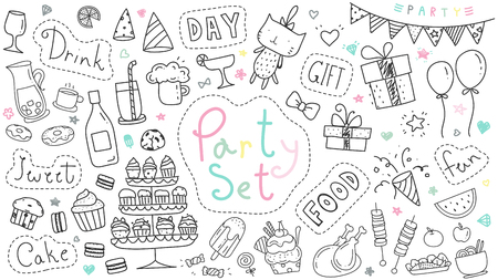 Cute party hand drawn doodle collection isolated on white background. Kawaii party doodle drawing for decoration scrapbook, invitation card and party poster. Çizim