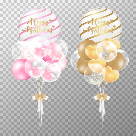Birthday balloons on transparent background. Realistic Pink and Golden glossy balloon vector illustration. For decorations birthday party design template. Illusztráció