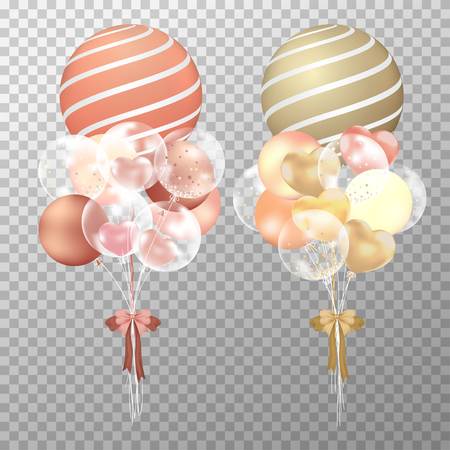 Balloons on transparent background. Realistic glossy copper and golden balloons vector illustration. Party balloons decorations wedding, birthday, celebration and anniversary card design.