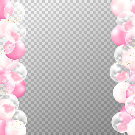 Realistic balloons frame with transparent background. Pink and white party balloons vector for decorations wedding, birthday, celebration and anniversary card design. Vettoriali