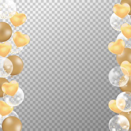 Realistic golden balloons frame with transparent background. Golden party balloons vector for decorations wedding, birthday, celebration and anniversary card design. Ilustracja