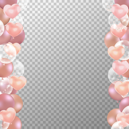Realistic Rose gold balloons frame with transparent background. Party balloons vector for decorations wedding, birthday, celebration and anniversary card design.