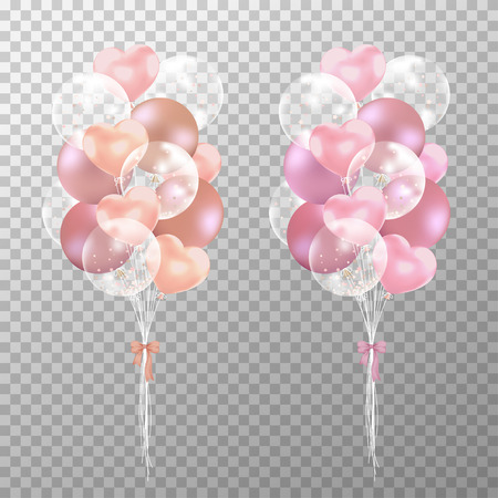 Rose gold balloons on transparent background. Realistic glossy rose gold and pink balloons vector illustration. Party balloons decorations wedding, birthday, celebration and anniversary card design.