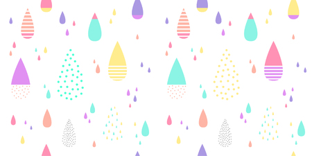Cute raining pattern seamless colorful. Abstract water drop for kid fabric print, wallpaper, wrapping paper, textile, baby background, banner and card design. Illusztráció