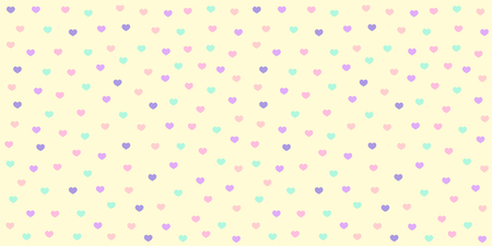 Heart pattern seamless in pastel color. Colorful heart glitter on yellow background for baby fabric print, wallpaper, textile, wrapping paper, banner and card design.