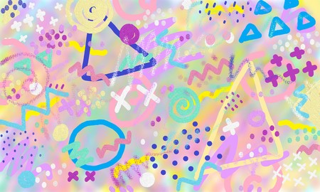 Abstract background hand drawn in pastel color. Kid art painting colorful.