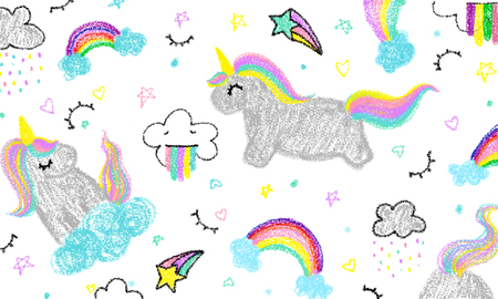 Cute unicorn child's hand drawn in pastel color. Crayon art painting of unicorn. Baby background colorful. Unicorn kid art painting.