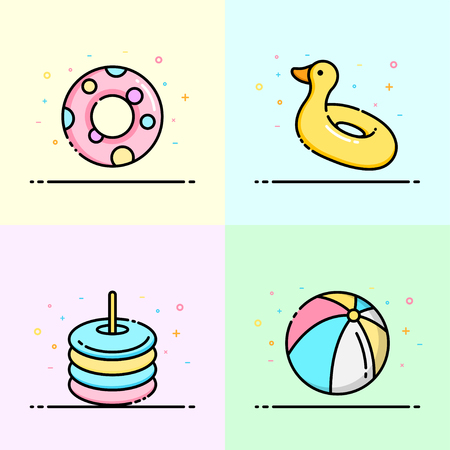 Pool toy collection in pastel color for social media banner, summer poster and app icon design. Illusztráció