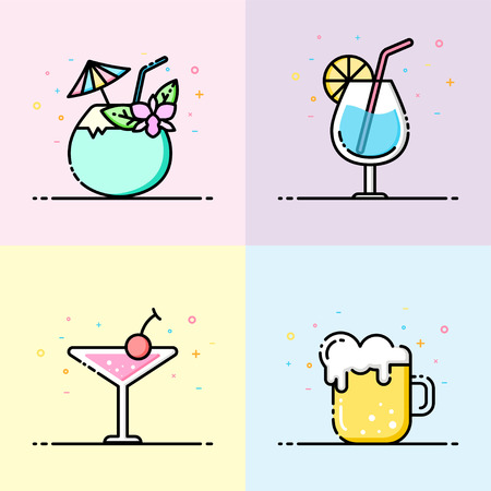 Drink icon collection pastel color in flat line style. The set contain coconut drink, water glass, cocktail and beer mug for social media banner, summer party poster and app icon design.