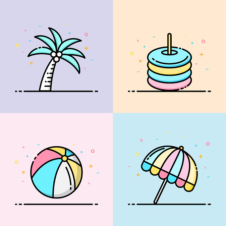 Summer icon collection in pastel color. The set contain coconut tree, rubber ring, beach ball and umbrella beach for social media banner, summer poster and app icon design. Illustration