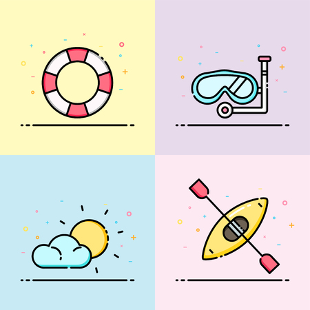 Summer icon collection in pastel color. The set contain life ring, snorkel, sun and kayak boat for social media banner, summer poster and app icon design.