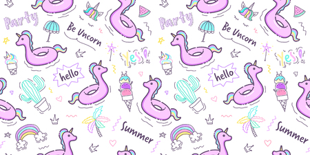 Unicorn rubber ring pattern seamless in pastel color. Unicorn swimming ring with cute hand drawn doodle summer element on white background for wallpaper, scrapbook, wrapping paper and kid fabric print