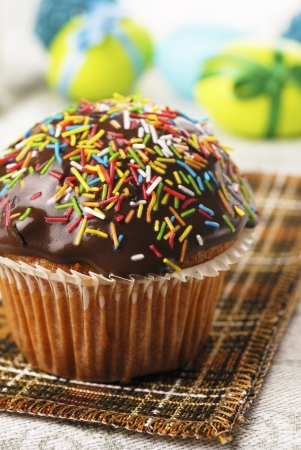 Chocolate muffin with sprinkles on the cloth