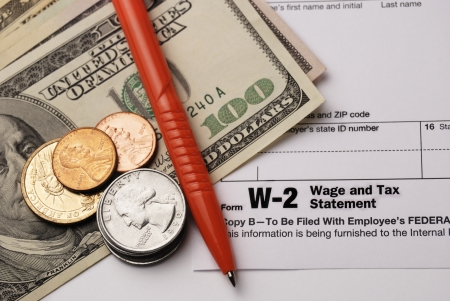 Form W-2 Wage and Tax Statement closeup photo