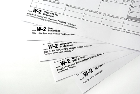 Tax return papers on the white background