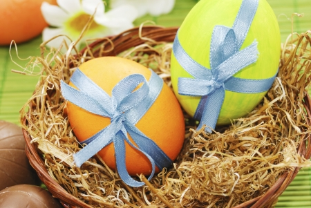 Colorful easter eggs in the basket on the green background Stock Photo - 17410333