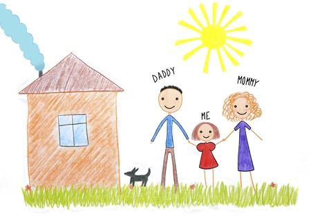 kids drawing happy family near their house picture on the wooden table Stock Photo