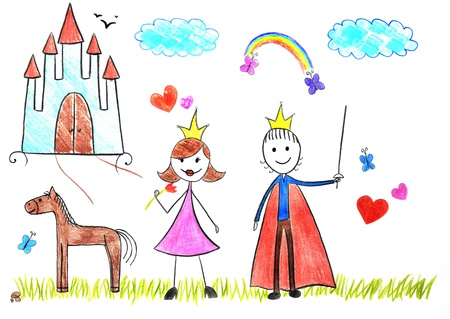 Kids drawing princess and prince picture on the wooden table photo