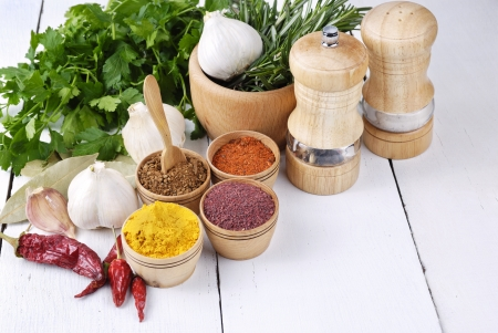 Different kinds of seasonings and herbs on the white oak table photo
