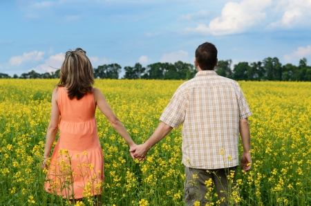 Back view of amorous couple walking in yellow meadow at summer photo