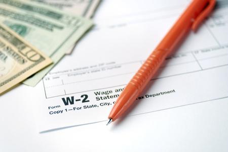 Form W-2 Wage and Tax Statement closeup