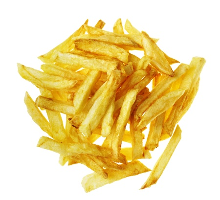 Fresh tasty french fries on the white isolated background  photo