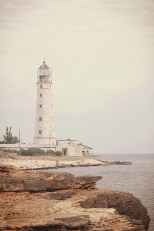 Beautiful view on the lighthouse on the Tarkhankut cape photo
